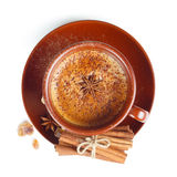 Coffee with cinnamon on a white background Royalty Free Stock Photography