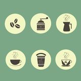 Coffee circle icons, thin, black or dark gray marks on light yellow, pastel green background Royalty Free Stock Images