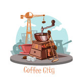 Coffee city. Banner with a coffee grinder and coffee beans, a cup of fresh coffee Royalty Free Stock Photos