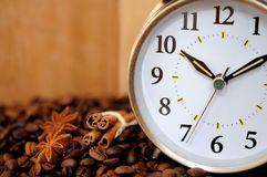 Coffee and clock Stock Photo