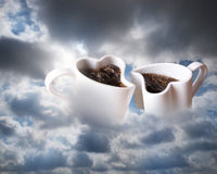 Coffee in clouds stock photography