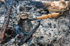 Coffee on the coals Royalty Free Stock Photography