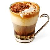 Coffee cocktail in glass cup. Coffee cocktail with honey, ice-cream and chocolate in glass cup (with clipping path for easy background removing if needed Stock Image