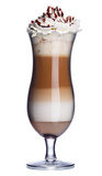 Coffee cocktail. Glass of coffee cocktail with whipped cream and chocolate syrup Royalty Free Stock Image