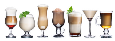 Coffee cocktails collection. Collection of delicious coffee and coffee cocktails int transparent glasses. Irish coffee Stock Images