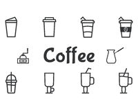 Coffee and cocktails outline elements and symbol Stock Image