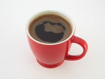 Coffee, cofee, coffe, kafe,cafe,. Perfect coffee in red coffee cup royalty free stock photos