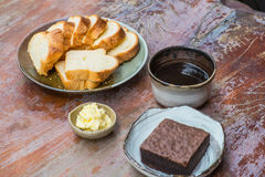 Coffee. Coffe bread and brownie Royalty Free Stock Photography