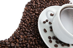 Coffee on coffee beans Royalty Free Stock Image