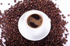 Coffee and coffee beans above stock image