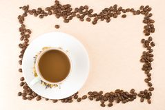 Coffee and coffee beans as frame Royalty Free Stock Images
