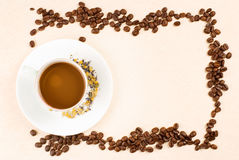 Coffee and coffee beans as frame Stock Photography