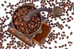 Of coffee. coffee beans and coffee grinder Stock Image