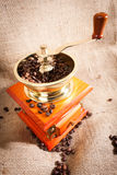 Of coffee. coffee beans and coffee grinder. Many coffee beans are next to a coffee grinder. freshly ground coffee Royalty Free Stock Image