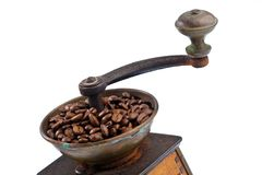 Of coffee. coffee beans and coffee grinder Royalty Free Stock Photo