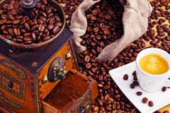 Coffee. coffee beans and coffee grinder Royalty Free Stock Image