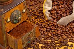 Coffee. coffee beans and coffee grinder Royalty Free Stock Photos