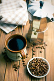 Coffee with coffee beans and coffee maker Stock Photo