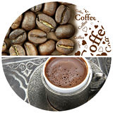 Coffee , Coffee beans and  Coffee  text Royalty Free Stock Image