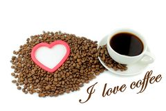 Coffee, coffee beans, heart and  I love coffee  text. On White background Stock Images