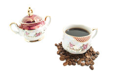 Coffee, coffee beans and sugar bowl. Coffee, sugar bowl and coffee beans on white royalty free stock photography