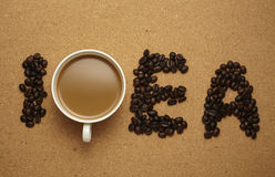 Coffee and coffee beans to form the letters Stock Photo