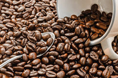 Coffee. Coffee cup full of coffee beans. Toned image. Royalty Free Stock Photos