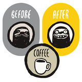 Before and after the coffee. Coffee funny hand drawn poster with sloths. Vector illustration. Before and after the coffee. Coffee funny hand drawn poster Stock Photos