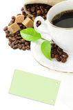 Coffee, coffee grains, brown sugar and sticker royalty free stock photos