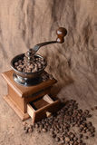 Coffee in a coffee grinder. On sacking Royalty Free Stock Photography