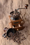 Coffee in a coffee grinder. On sacking Stock Image