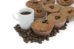 Coffee  and Coffee Muffins. A cup of coffee with some coffee muffins Stock Photos