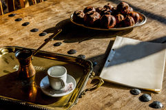 Coffee in coffee pot. With jam on wooden table Royalty Free Stock Photos