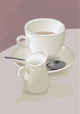 Coffee and coffee pot. Vector illustration of a cup of coffee with saucer. spoon and coffee pot Stock Images