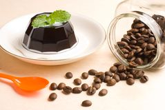 Coffee, coffee pudding and coffee beans stock photos