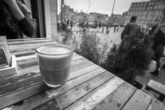 Coffee in a coffee shop window. Royalty Free Stock Images