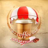 Coffee with coffee stain, tablecloths, coffee grains and awnings Royalty Free Stock Photos
