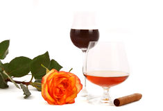 Coffee cognac and cigar Stock Image