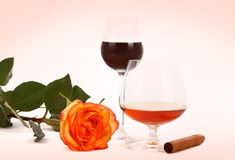 Coffee, cognac and cigar Royalty Free Stock Photography