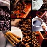 Coffee collage. With black background stock image