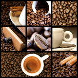 Coffee collage. A collage of nine photos of coffee theme stock photo