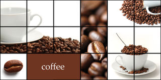 Coffee collage. Cpace for sample text Royalty Free Stock Image