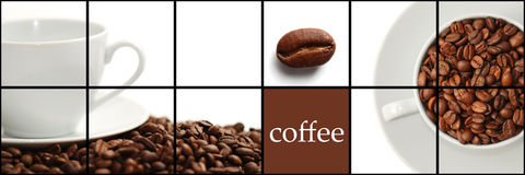 Coffee collage. Background of the Coffee collage Stock Photo