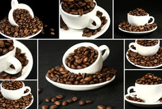 Coffee collage. Collage of coffee beans and cup Stock Photos