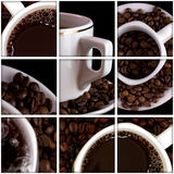 Coffee collage. Collage of tea anf coffee drink related pictures made from five images Royalty Free Stock Photo