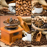Coffee collage. Made from six photographs Royalty Free Stock Photography