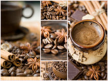 Coffee collage. Collage. aromatic coffee and spices Stock Photo