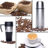 Coffee collage, beans, cup of coffee, thermos flask Royalty Free Stock Image