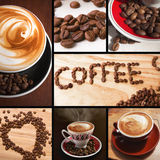 Coffee collage. Beans and cups of fresh coffee Stock Photography