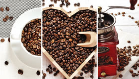 Coffee collage - coffee beans cup, heart of coffee, coffee grinder Stock Images